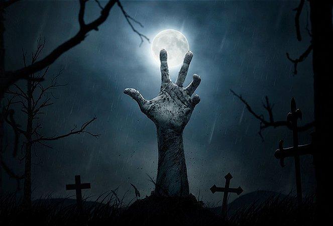 Painel de Festa em Tecido Sublimado 3d Mão no cemitério Halloween