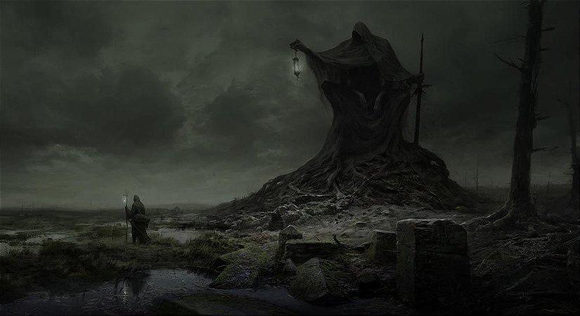Painel de Festa em Tecido Sublimado 3d Halloween Noite Macabra