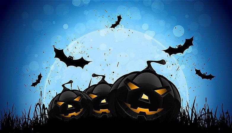 Painel de Festa em Tecido Sublimado 3d Morcegos do Halloween