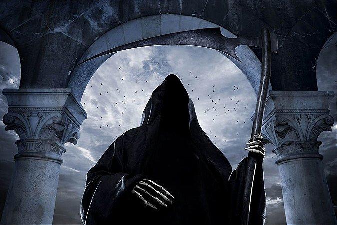Painel de Festa em Tecido Sublimado 3d Halloween Morte