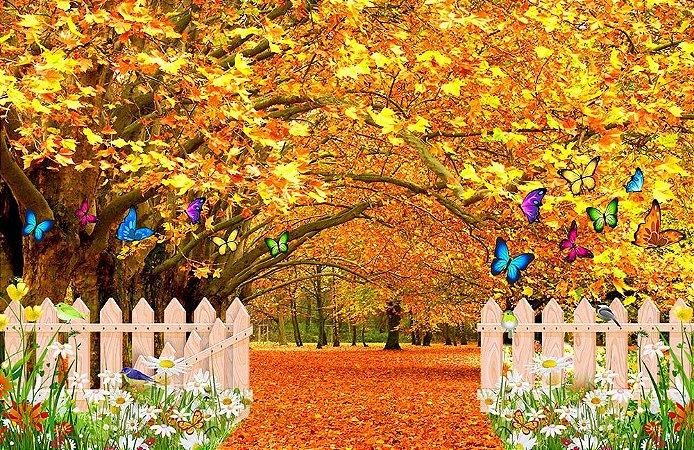 Painel de Festa em Tecido Sublimado 3d Jardim de Outono