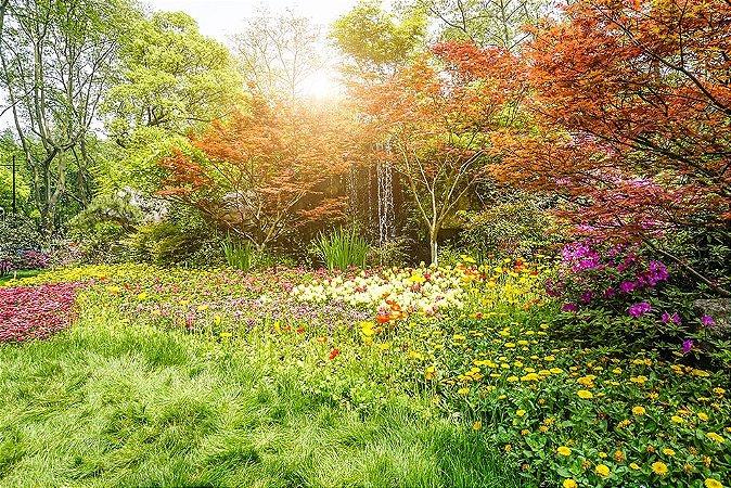 Painel de Festa em Tecido Sublimado 3d Jardim de Primavera
