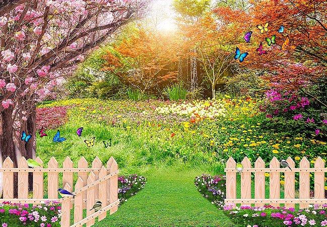 Painel de Festa em Tecido Sublimado 3d Jardim Belas Flores