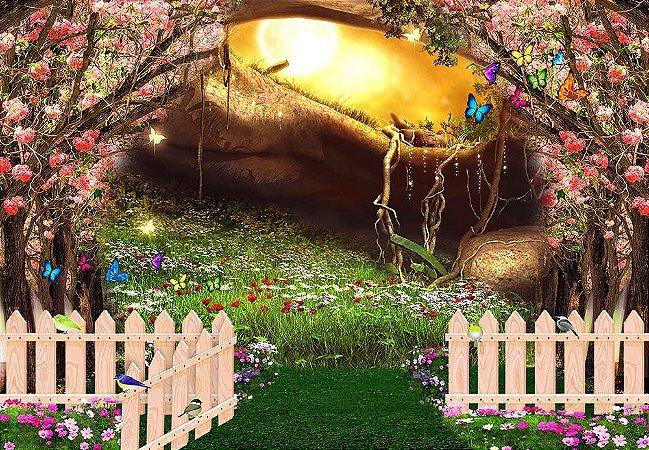 Painel de Festa em Tecido Sublimado 3d Jardim Secreto