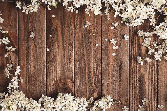 Painel de Festa em Tecido Sublimado 3d Madeira Flores Brancas