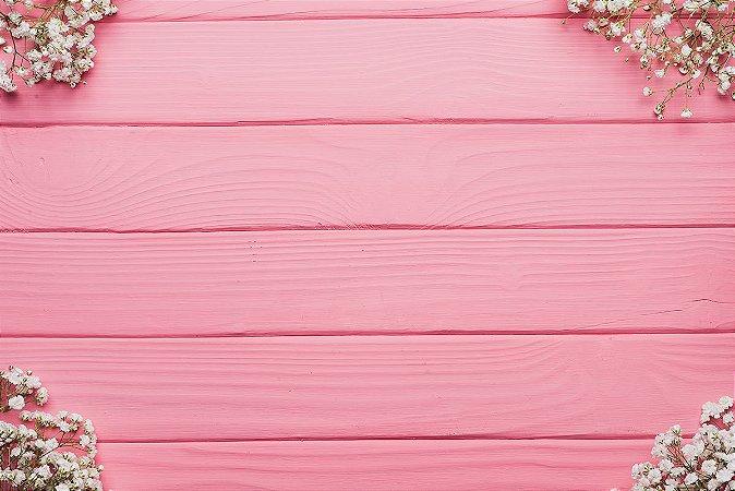 Painel de Festa em Tecido Sublimado 3d Madeira Rosa