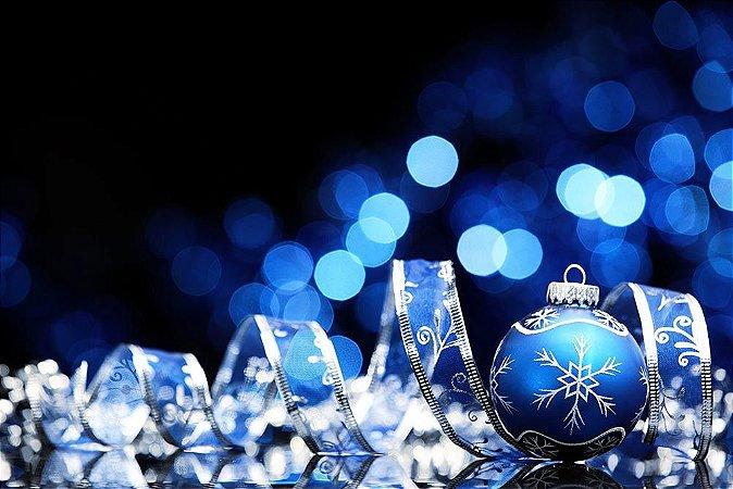 Painel de Festa em Tecido Sublimado Bolinha Azul de Natal