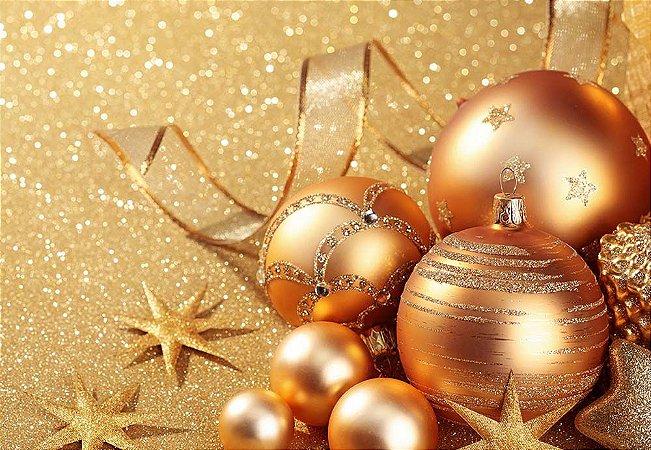 Painel de Festa em Tecido Sublimado Bolinhas Douradas de Natal