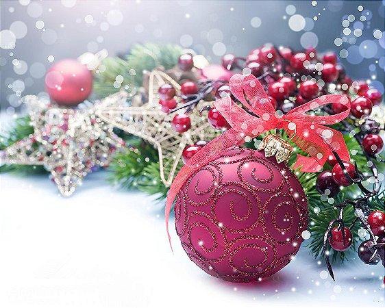 Painel de Festa em Tecido Sublimado Bolinhas Vermelhas de Natal