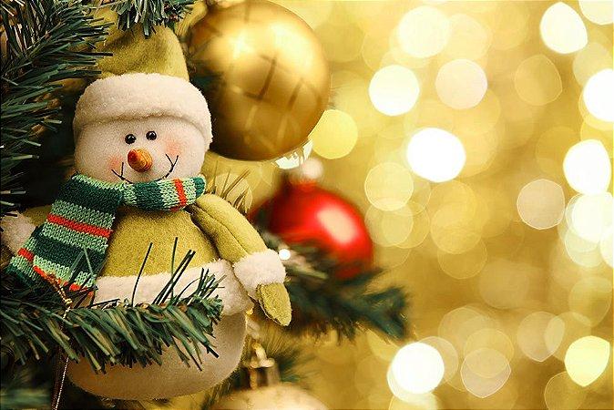 Painel de Festa em Tecido Sublimado Boneco de Neve de Natal