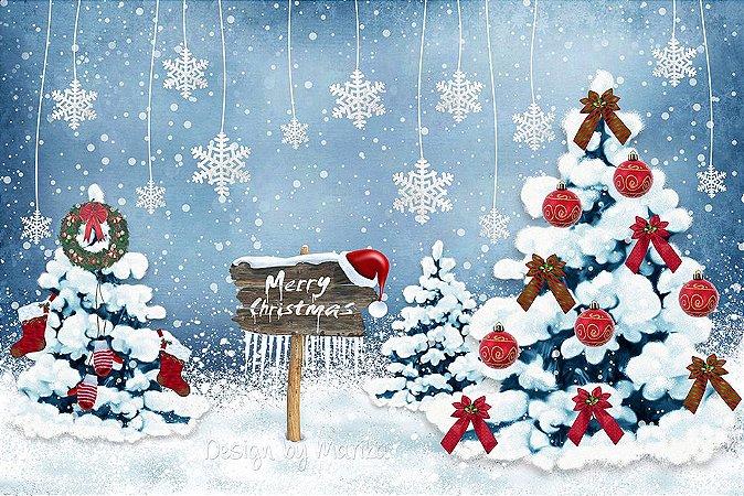 Painel de Festa em Tecido Sublimado Flocos de Neve no Natal