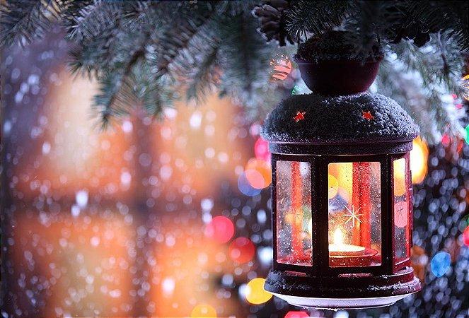 Painel de Festa em Tecido Sublimado Lamparina de Natal