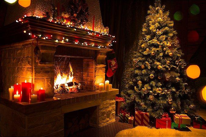 Painel de Festa em Tecido Sublimado Lareira de Natal