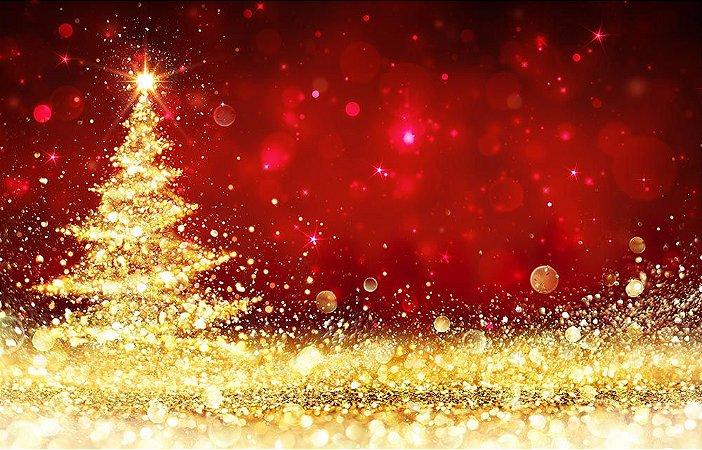 Painel de Festa em Tecido Sublimado Pinheiro de Natal Dourado