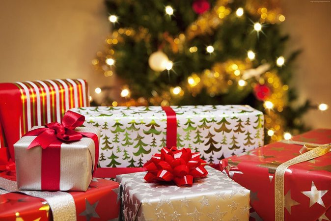 Painel de Festa em Tecido Sublimado Presentes de Natal mod2