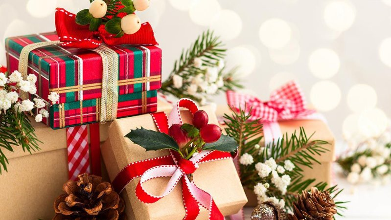 Painel de Festa em Tecido Sublimado Presente de Natal Mod3
