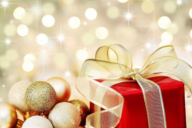 Painel de Festa em Tecido Sublimado Presente de Natal Mod4
