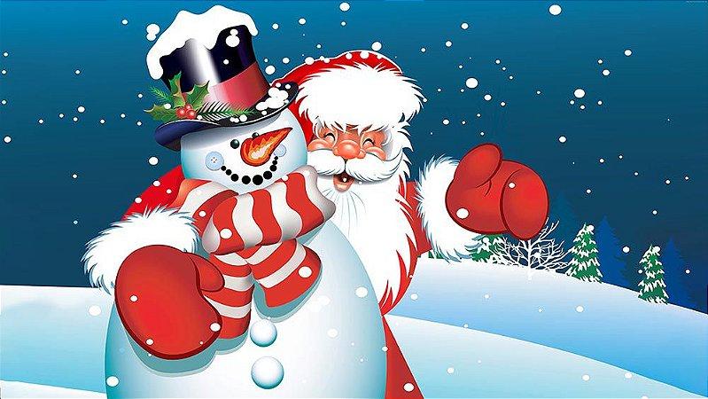 Painel de Festa em Tecido Sublimado Papai Noel