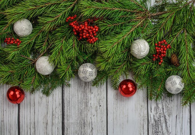 Painel de Festa em Tecido Sublimado Guirlanda de Natal