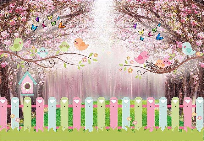 Painel de Festa em Tecido Sublimado 3d Passarinhos Caminho Encantado