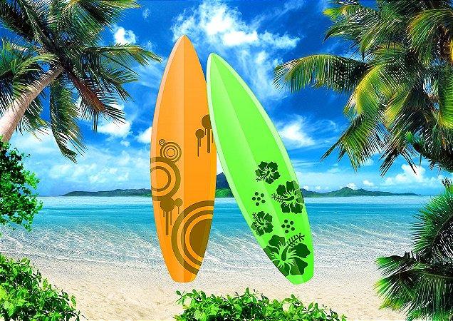Painel de Festa em Tecido Sublimado 3d Praia e Prancha