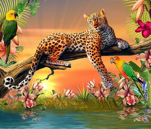 Painel de Festa em Tecido Sublimado 3d Tigre na Savana
