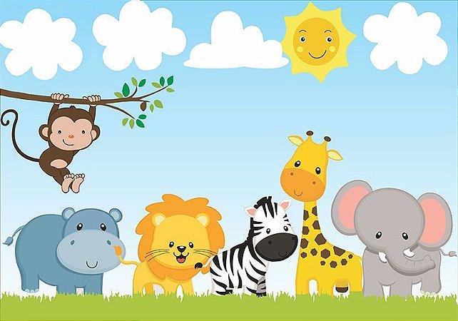 Painel de Festa em Tecido Sublimado 3d Animais Cute do Safari