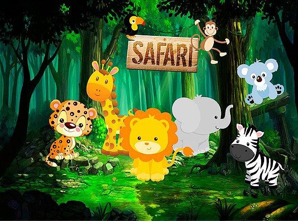 Painel de Festa em Tecido Sublimado 3d Lindo Safari