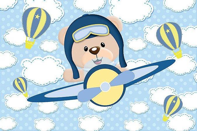 Painel de Festa em Tecido Sublimado 3d Ursinho Aviador