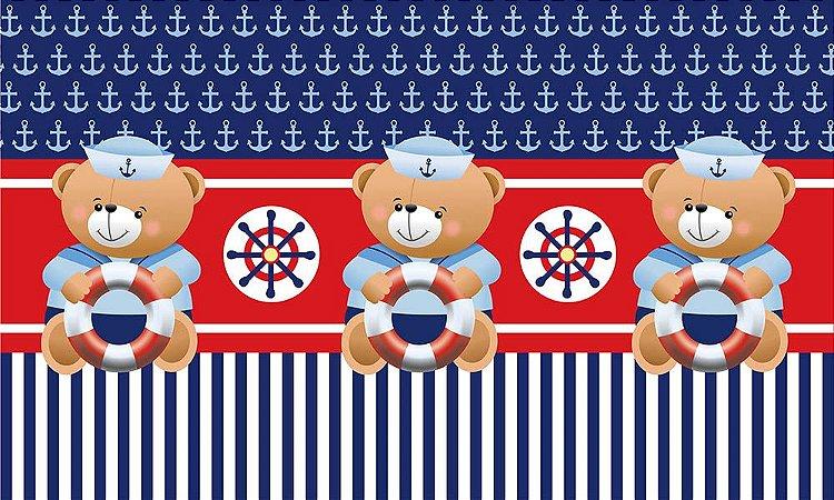 Painel de Festa em Tecido Sublimado 3d Ursinho Marinheiro Mod2