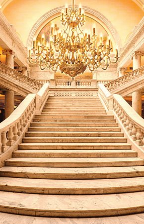 Fundo Fotográfico em Tecido Sublimado Escadaria Dourada Realeza