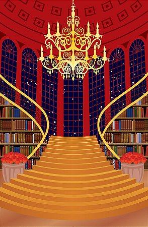Fundo Fotográfico em Tecido Sublimado Escadaria Livros