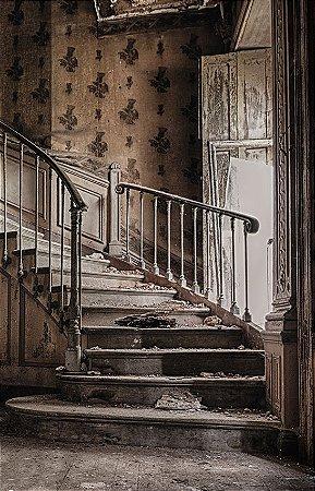 Fundo Fotográfico em Tecido Sublimado Escadaria Casa Antiga