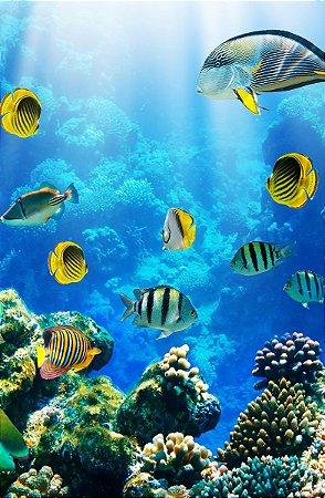 Fundo Fotográfico em Tecido Sublimado Corais Fundo do Mar