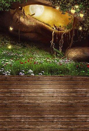 Fundo Fotográfico em Tecido Sublimado Jardim Mágico
