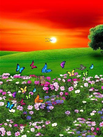 Fundo Fotográfico em Tecido Sublimado Lindo Jardim Florido