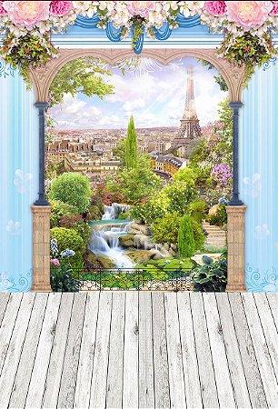 Fundo Fotográfico em Tecido Sublimado Flores de Paris