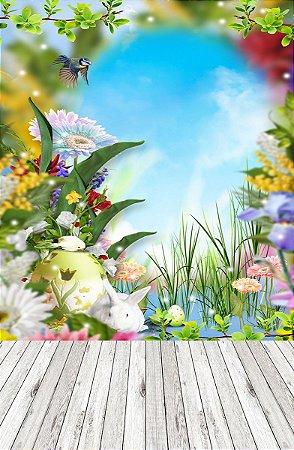 Fundo Fotográfico em Tecido Sublimado Florais no Jardim