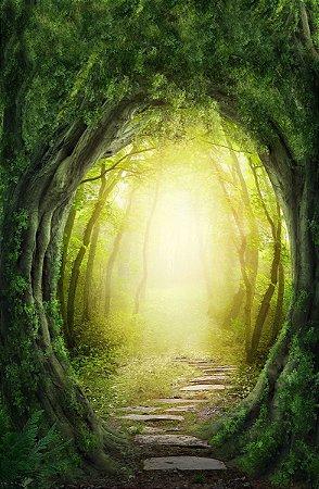 Fundo Fotográfico em Tecido Sublimado Portal na Floresta