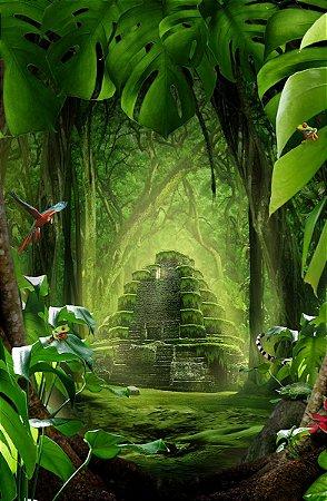 Fundo Fotográfico em Tecido Sublimado Templo Floresta Mágica