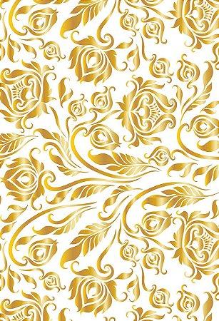 Fundo Fotográfico em Tecido Sublimado Flores de Ouro
