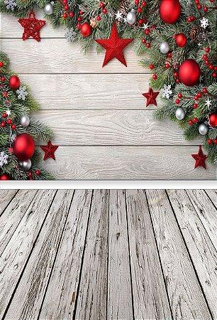 Fundo Fotográfico em Tecido Sublimado Estrelinhas de Natal