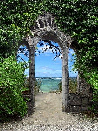 Fundo Fotográfico em Tecido Sublimado Arcos na Praia