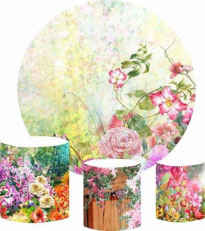 Kit Painel Redondo De Festa e Capas de Cilindro em tecido sublimado Jardim das Flores Aquarela