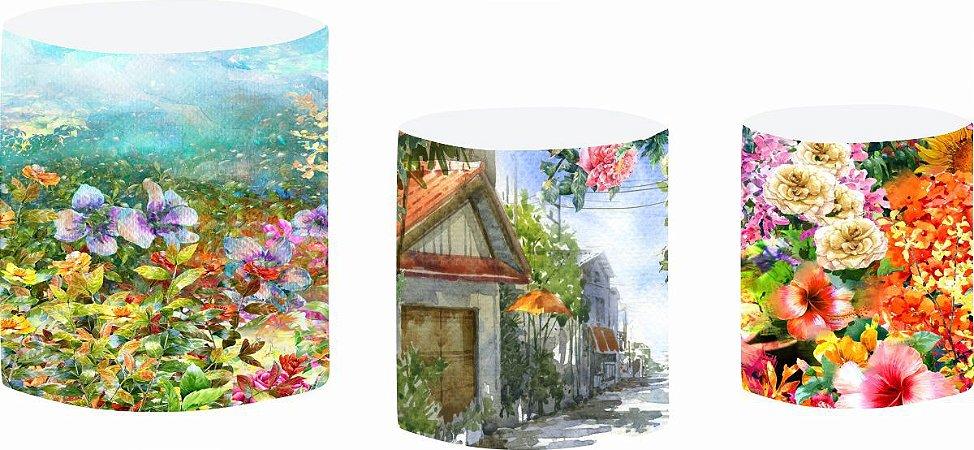 Kit Capas de Cilindro de festa em tecido sublimado Casa Jardim Aquarela
