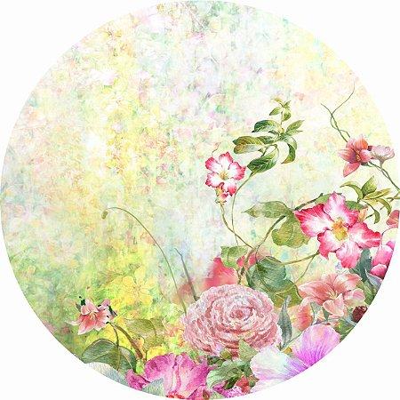 Painel de Festa Redondo em Tecido Sublimado Jardim das Flores Aquarela c/elástico