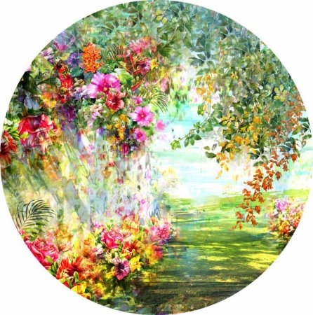 Painel de Festa Redondo em Tecido Sublimado Lindo Jardim Aquarela c/elástico