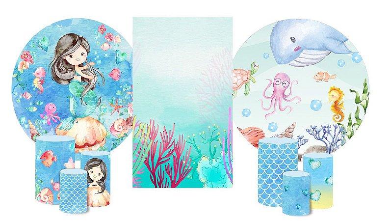 Super Kit Painéis Redondos De Festa e Capas de Cilindro em tecido sublimado Sereia e Fundo do Mar