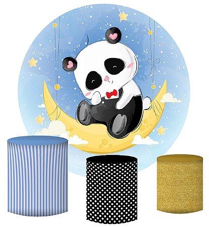 Kit Painel Redondo De Festa e Capas de Cilindro em tecido sublimado Panda Lua
