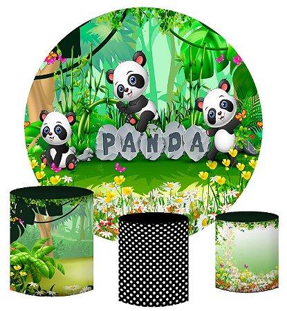 Kit Painel Redondo De Festa e Capas de Cilindro em tecido sublimado Panda Safari